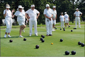 PHOTO PROVIDED BY MD SENIOR OLYMPICS MD Senior Olympics Lawn Bowling competition at Leisure World on Sept 9 (points are awarded on how close the bowling balls come to the yellow ball)